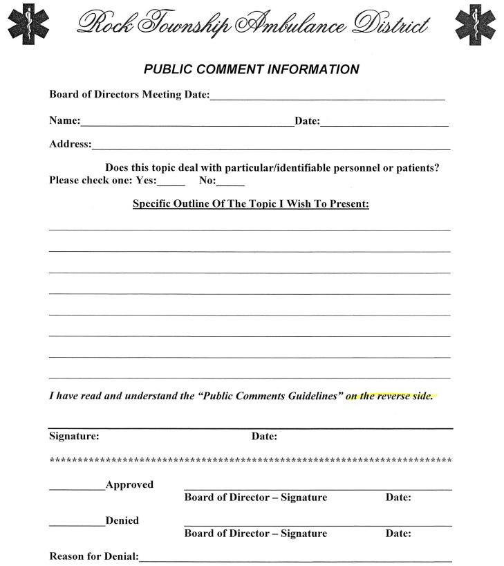 Public Comment Form